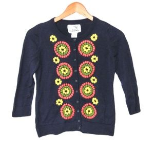 Tabitha Embroidered Soleil Navy Cardigan Sweater S
